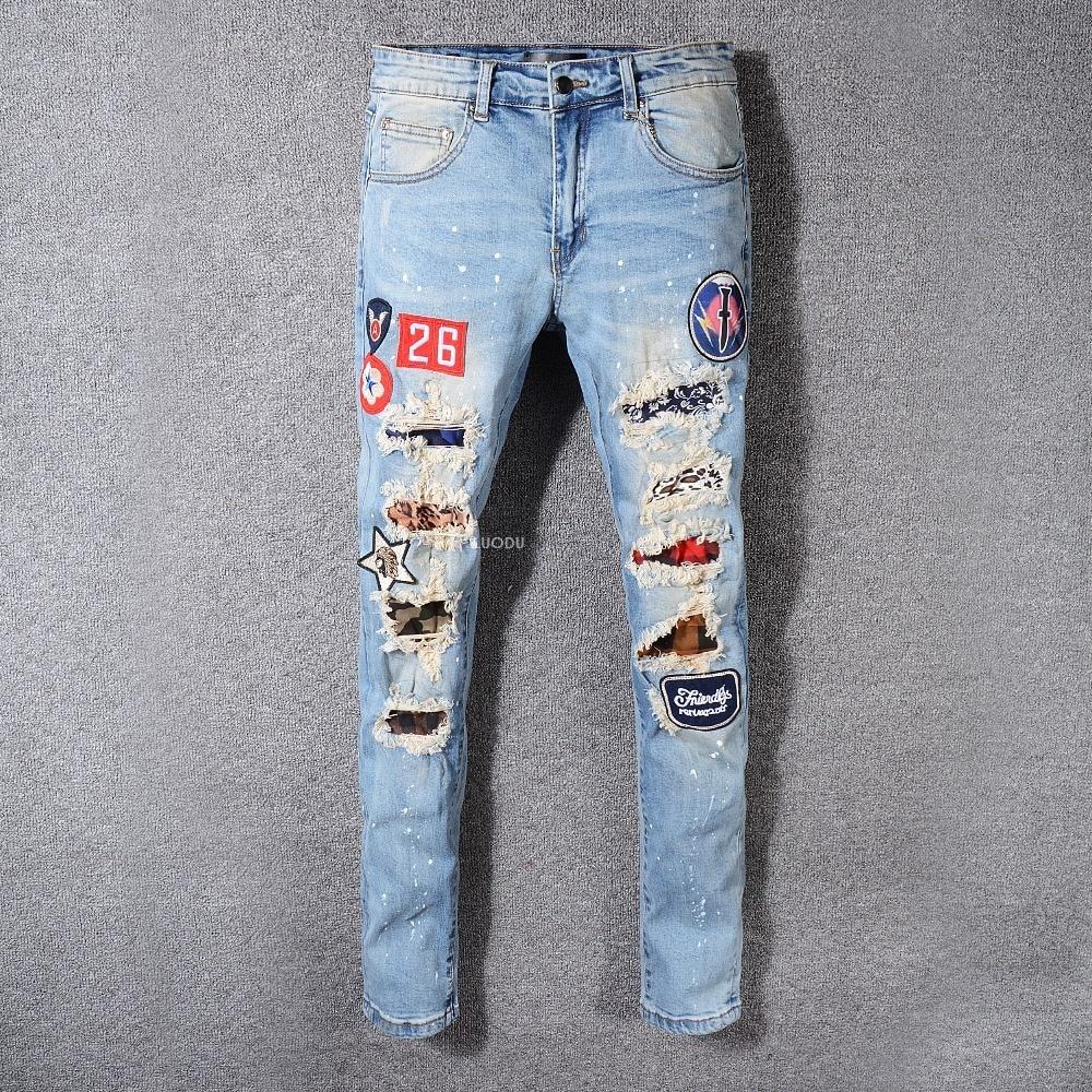 Men's Skinny Blue Destroyed Distressed Jeans 3