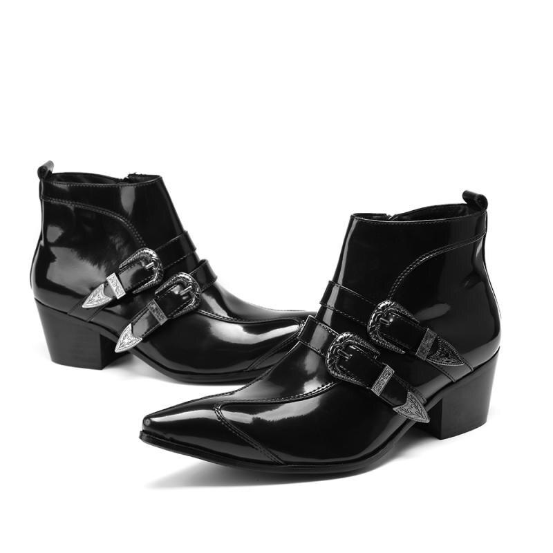 Bout pointu Martin bottes hommes chaussures d'hiver hauteur augmentant hommes botte de déchiquetage