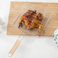 Stainless Steel Non-stick Meshes Wood Handle Grilled Fish Barbecue Clip Net Outdoor burgers BBQ tools Grill Fish Barbecue Clip