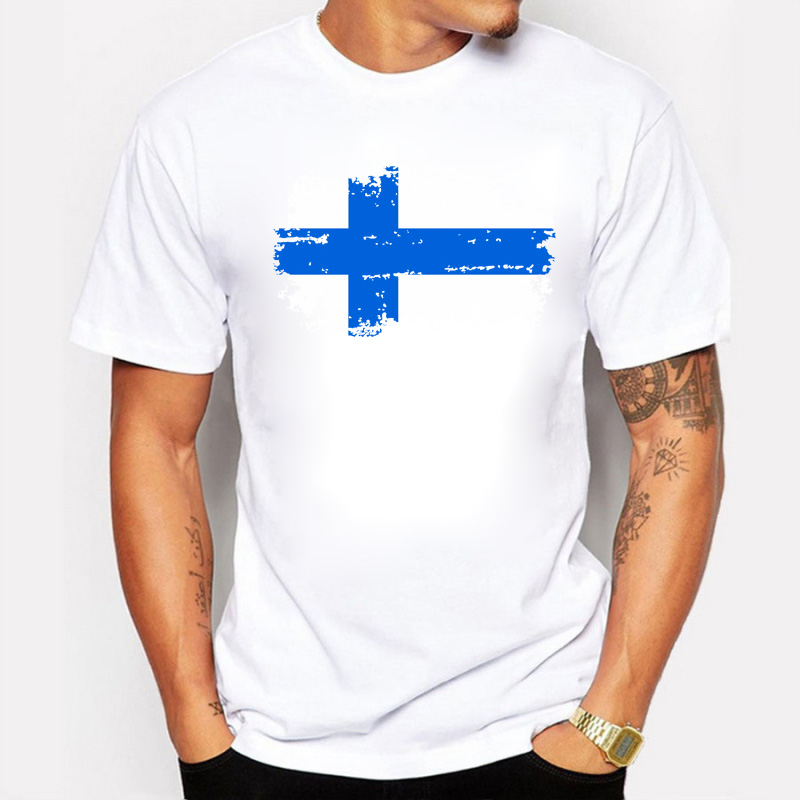 <font><b>Finland</b></font> National <font><b>Flag</b></font> Printed Tee <font><b>Shirts</b></font> Short T-<font><b>shirts</b></font> Nostalgic Style Star Players <font><b>Finland</b></font> Fans Cheer Tshirts For Men Summer image