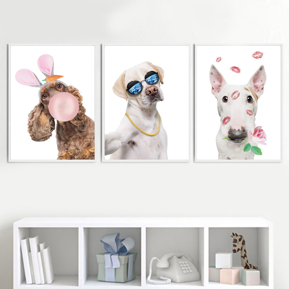 Hound Labrador Bull Terrier Dog Wall Art Canvas Painting Nordic Posters And Prints Animals Pictures For Kids Room Decor