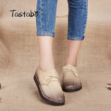 Купить с кэшбэком Tastabo Genuine Leather Flat Shoe 2017 Loafers Women Shoes New Arrival Lace-u Casual Work Driving Shoes Women Flats