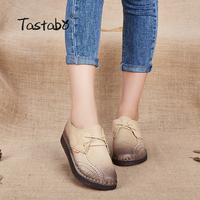 Tastabo Genuine Leather Flat Shoe 2017 Loafers Women Shoes New Arrival Lace U Casual Work Driving