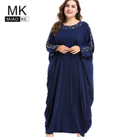 Miaoke Plus Size Maxi Autumn Dress Women 2018 High Quality Fashion Batwing sleeve Long Sleeve Vintage Dresses 4XL 5XL 6XL