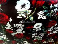 Red Rose Flowers african wax print tissu Brand Silk Fabric 30% Mulberry Silk and linen fabric Cloth Hot Sale Cheongsam