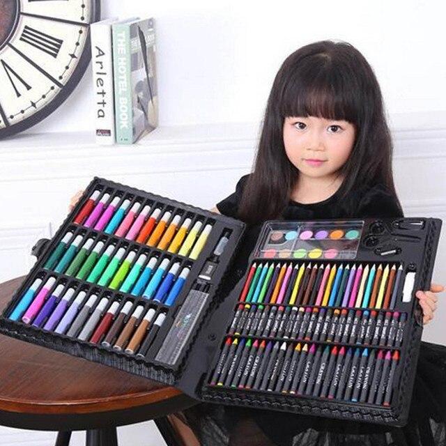 150 piezas para niños DIY lápiz de colores rotulador lápiz de aceite pasteles acuarela pigmento pintura pincel dibujo Graffiti pintura lápiz juguete