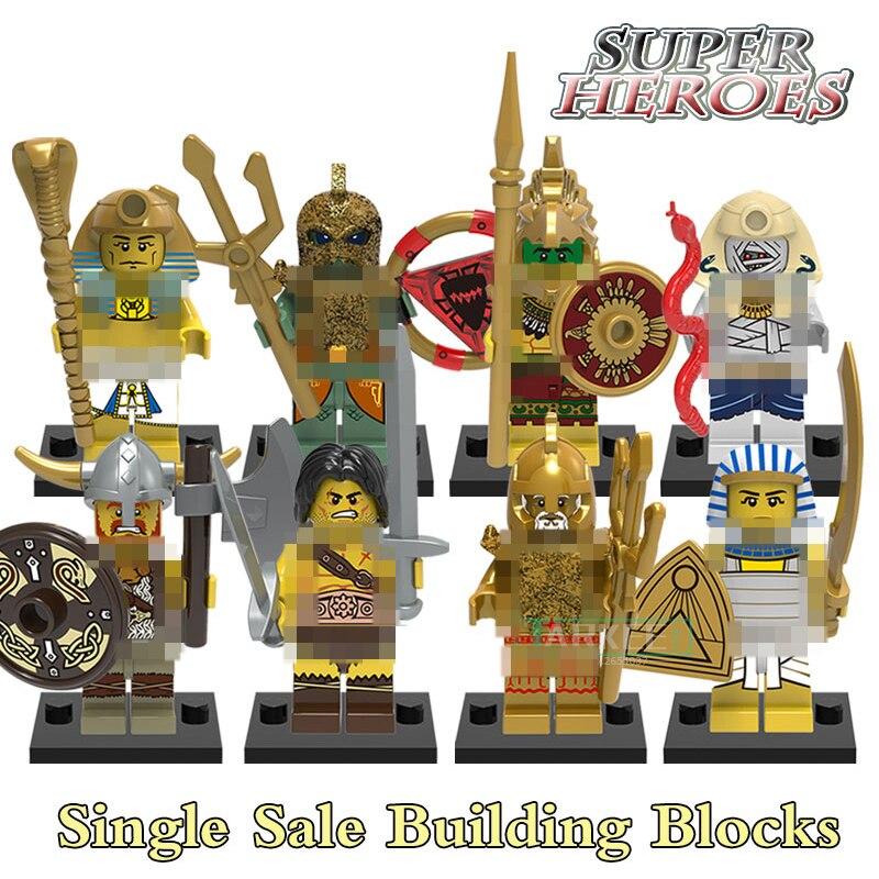 Educational Blocks Medieval Egyptian Warrior Viking Barbarian Figures Super Hero Building Bricks Kids Toys Hobbies X0161