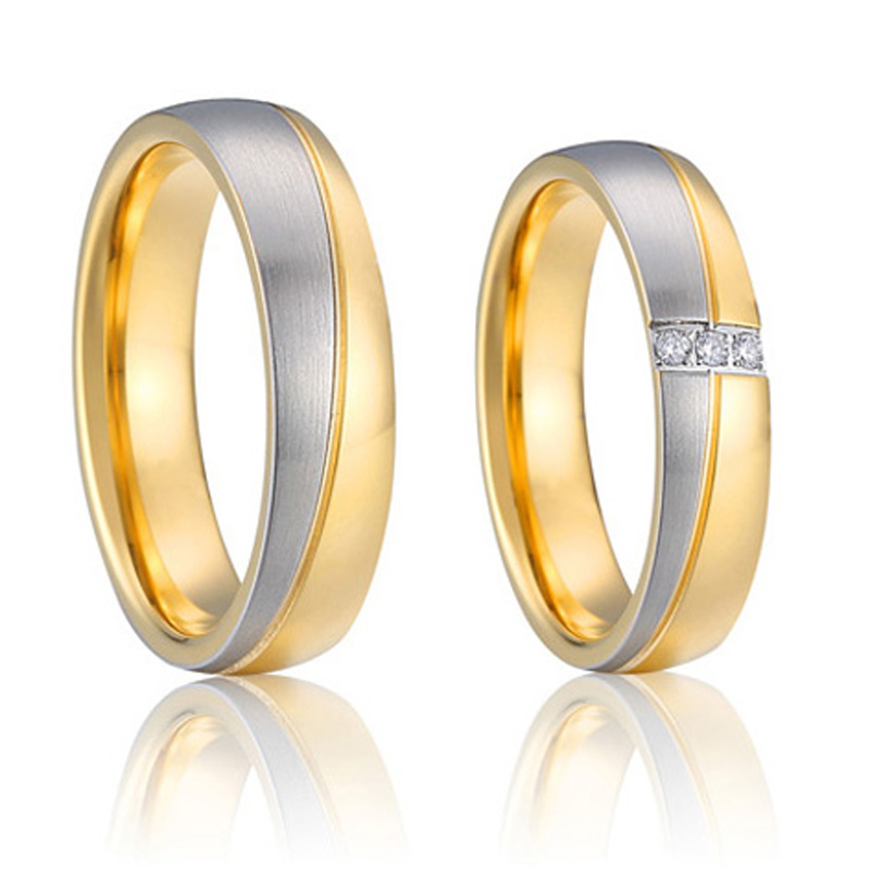 his and hers wedding band couple rings pair set gold color ...