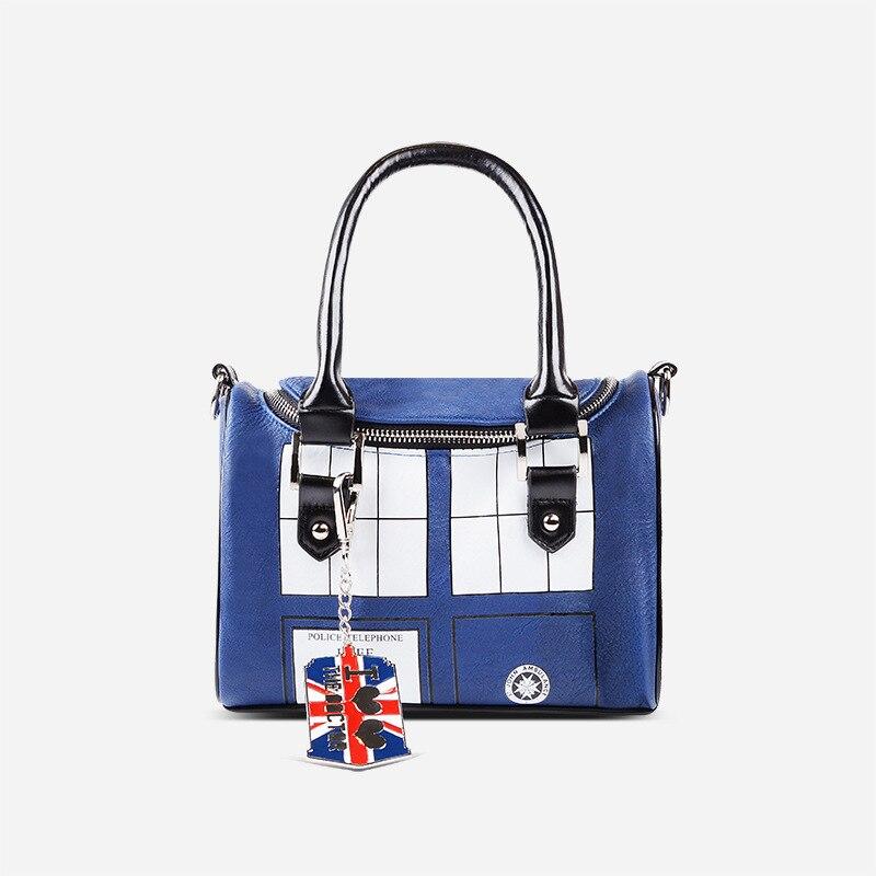 Mysterious Dr. handbag Doctor Who Bag TARDIS Mini Satchel and Metal Charm Keychain Shoulder bag Lady Messenger bag