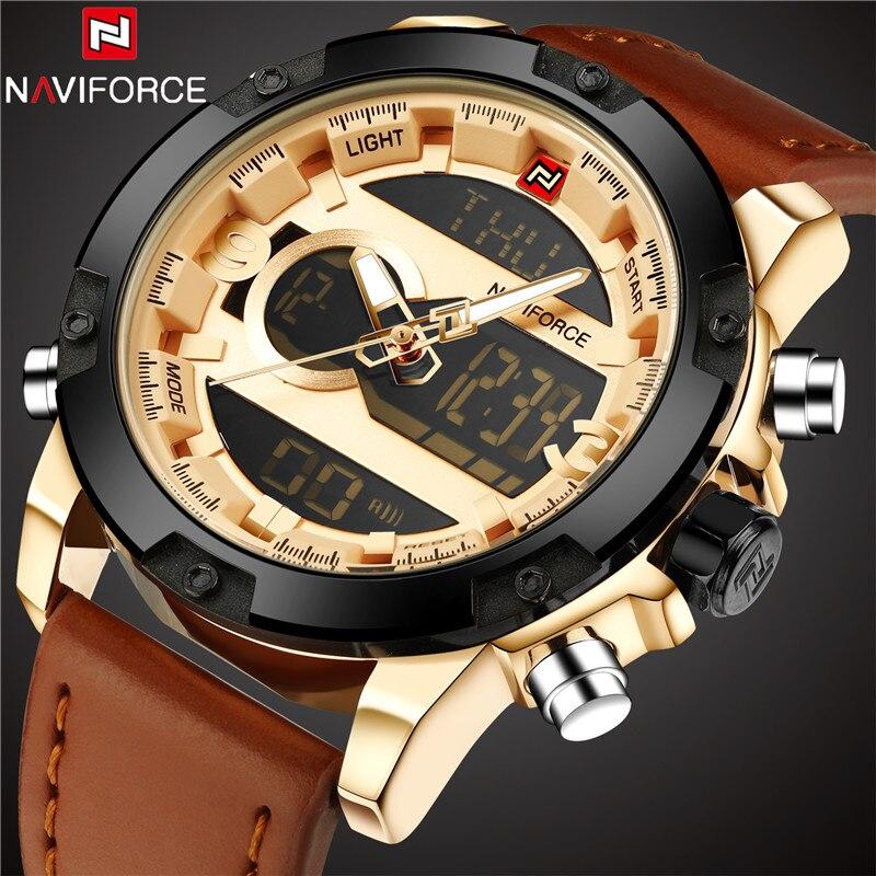 5272c3060833 Hombres relojes deportivos naviforce marca reloj LED Digital analógico  cuero reloj cuarzo 30 m relojes impermeables