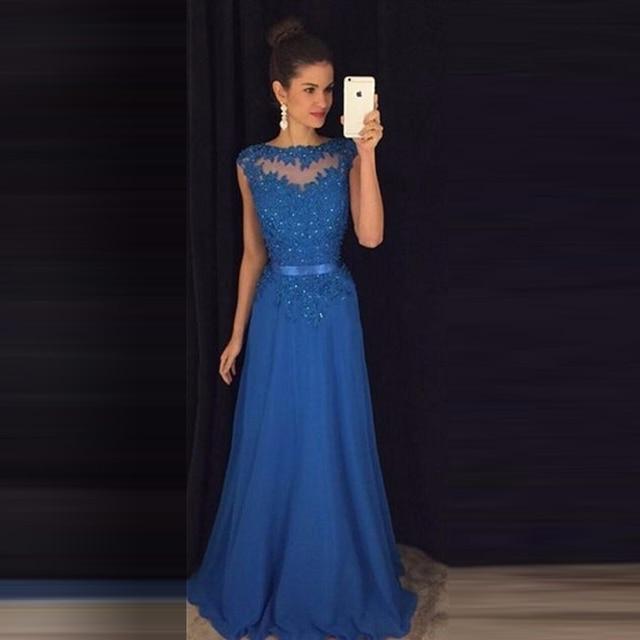 90ee4f3b811 Robes de bal Bleu Royal formatura Dentelle Applique Sequin Longue Une Ligne  En Mousseline de Soie ...