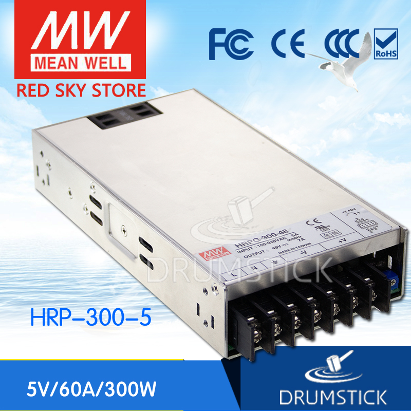 Hot sale MEAN WELL original HRP-300-5 5V 60A meanwell HRP-300 5V 300W Single Output with PFC Function  Power Supply selling hot mean well epp 300 48 48v 6 25a meanwell epp 300 48v 300w single output with pfc function