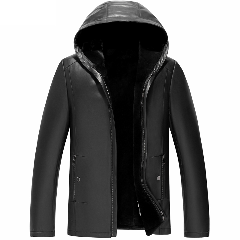 Coat Men Sheepskin Genuine-Leather Thick Winter Warm Wool Long Lining Hooded Excellent-Quality
