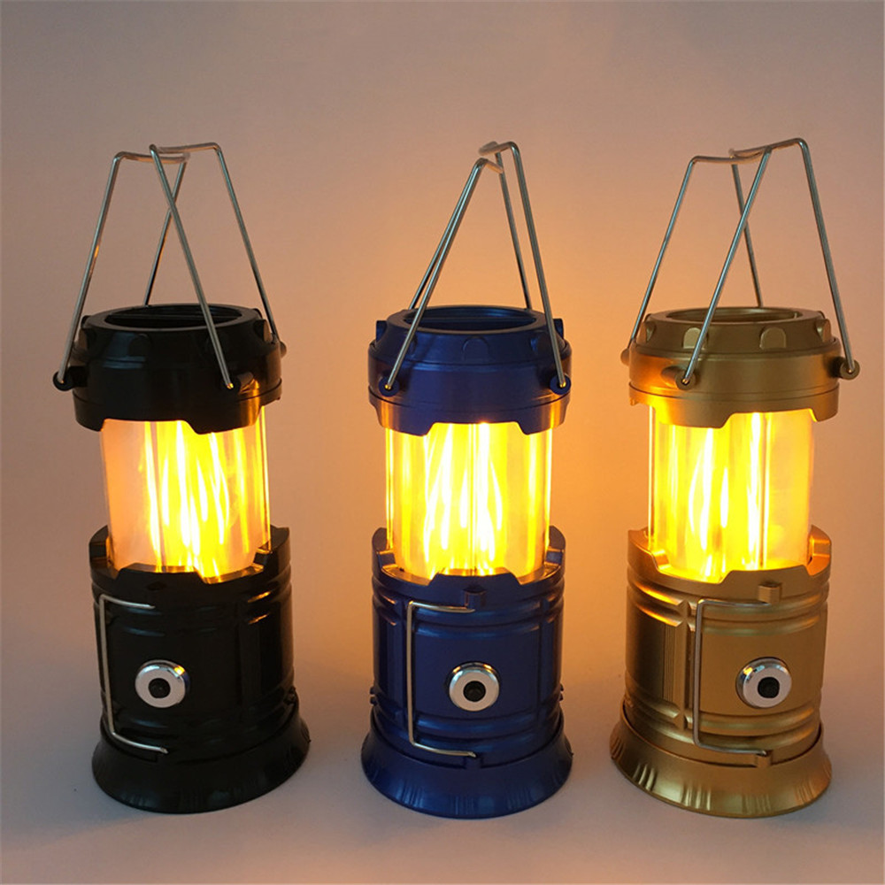 2-IN-1 Led Camping light AA battery powered Flame decorative lamp Portable LED Camping Lantern Flashlights for Emergence