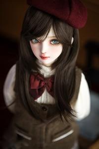 BJD doll High-temperature wire hair wigs for 1/3 1/4 BJD DD SD MSD doll long chestnut brown hair wigs(China)