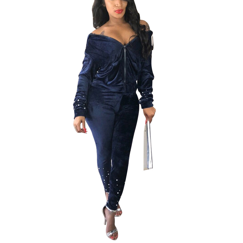 Korean Velvet Beads Jumpsuit Female Autumn Long sleeved Two piece party Party Sexy Women 39 s Overalls in Jumpsuits from Women 39 s Clothing