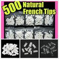Venda quente DIY 500 Pcs Falso Prego Completa Dicas Branco Natural Limpar Falso Gel Art Ferramenta Acrílico