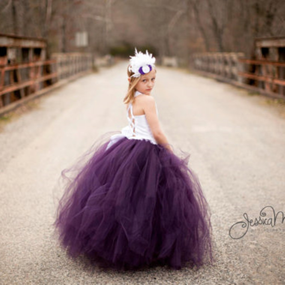 Girls Dress Purple Dress Girl Party White Elegant Lace Bodice Straps Tutu Dresses girls Birthday Wedding Dress Customize embroidered bodice frilled dress
