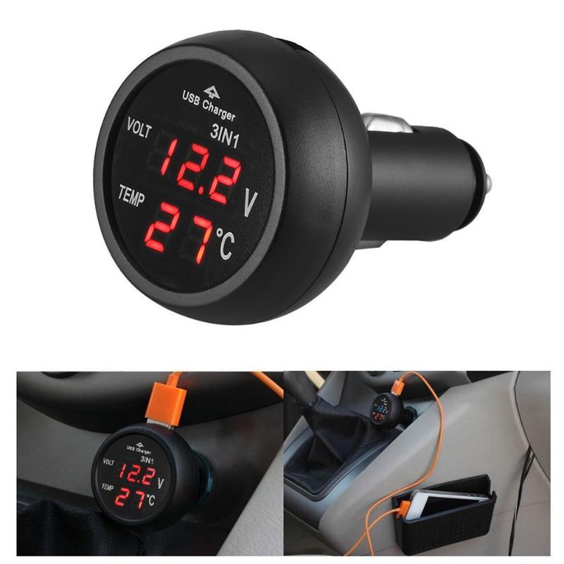 Vodool 3 em 1 12/24 v carro auto led digital voltímetro medidor termômetro monitor display usb carregador de carregamento para telefone tablet gps