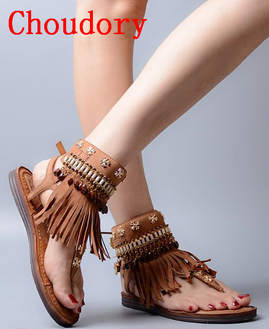 Choudory New Summer Style Women Shoes Genuine Leather Gladiator Sandals Fringe Flats Shoes Woman Casual Beach Zapatos Mujer gladiator sandals 2017 summer style comfort flats casual creepers platform pu shoes woman casual beach black sandals plus us 8
