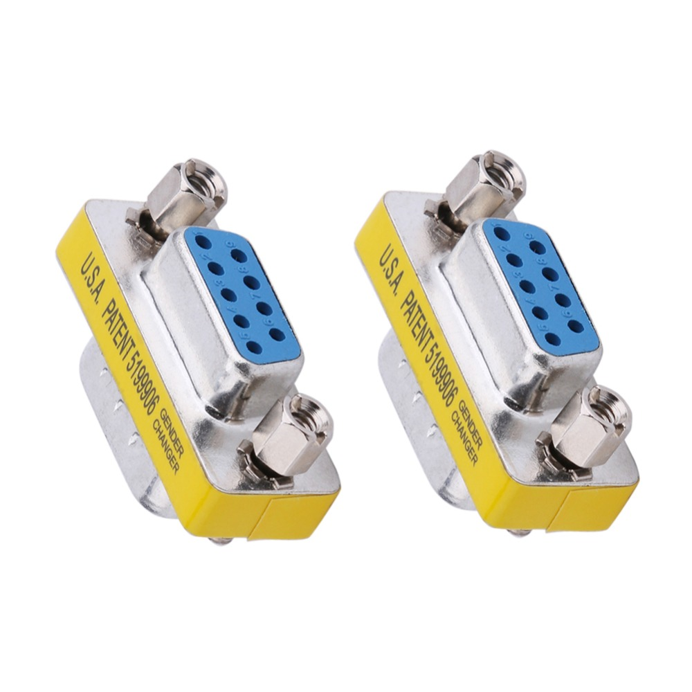 2Pcs DB9 Male To Male/ Female To Female/ Male To Female Adapter Gender Changer Serial RS232 Coupler Straight Converter Connector