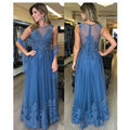 Lace 2017 Arabic Style Evening Dresses Applique A Line Formal Dress Sheer Back Vestidos de festa Off Shoulder Long Evening Gowns
