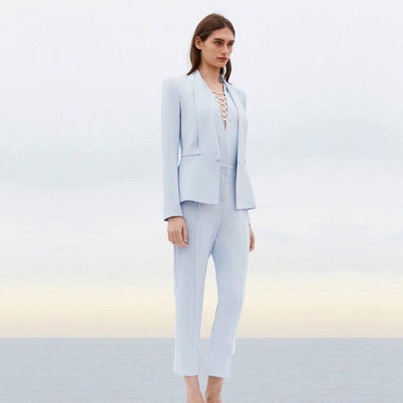 Jacket Women S Pants Business Suit Sky Light Blue Women