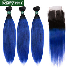 T1b / Blue 3 Bundles With Closure Brazilian Straight Weave Beauty Plus Ombre Human Hair Extensions Weft Med Stängning 4x4 Non Remy