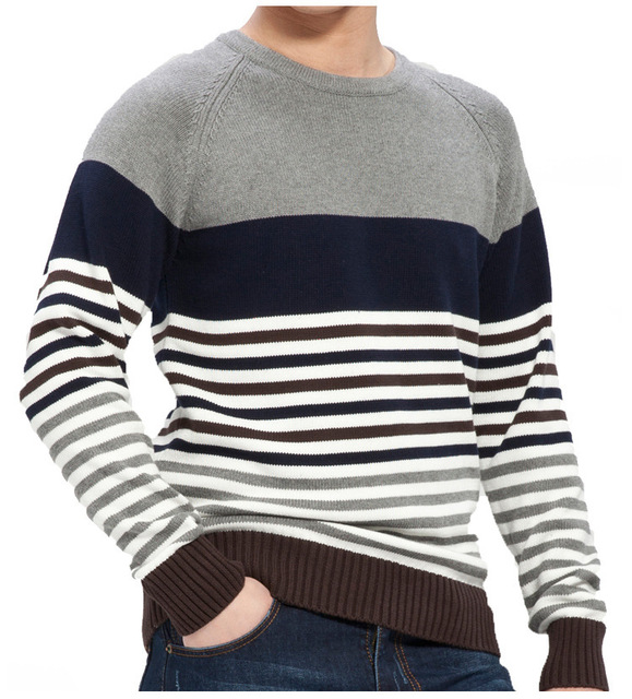 30c930ad06ddc6 Mens Striped Sweater Knitting Pattern 2015 New Autumn Hedging Thick Sweater  Men s Round Neck Preppy Style Casual Sweaters Men