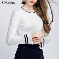 SDRawing Women S Sweater Korean Round Neck Speaker Sleeves Long Sleeves Stripes Slim Was Thin Coat