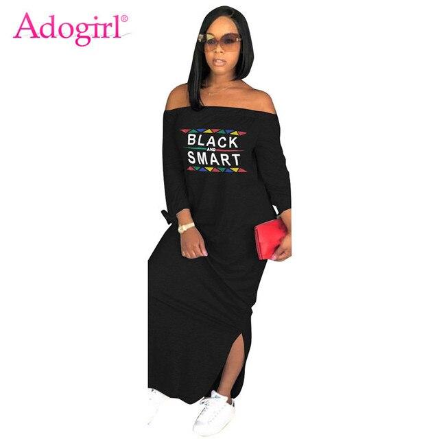 Adogirl Letter Print Women Casual Maxi Dress Sexy Slash Neck Off Shoulder Long Sleeve Side Slit Long Dress Fashion Street Wear