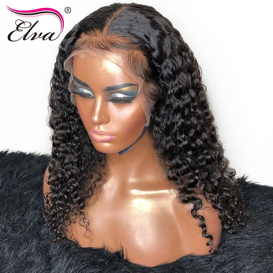370 Lace Frontal Wig Deep Parting 13x6 Brazilian Remy Hair Curly Lace Front Human Hair Wigs For Black Women With Baby Hair Elva