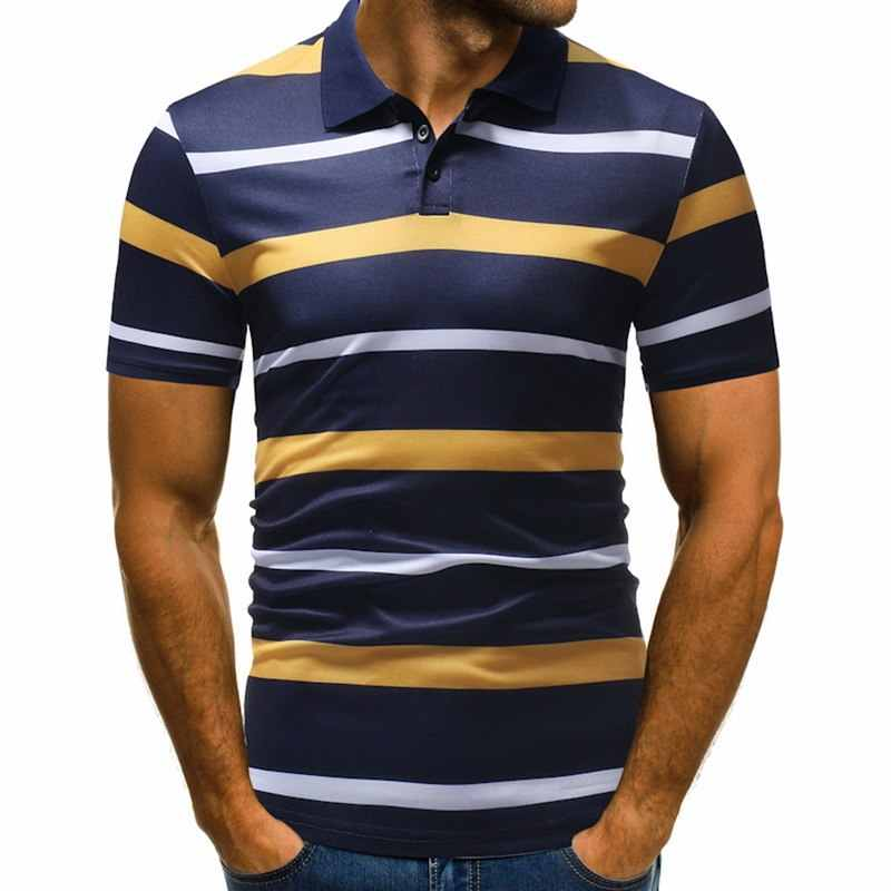 LASPERAL Men's Polos Shirts Male Tee Turn Down Collar Stripe Cotton Tops Summer Short Sleeve Man Striped Short Sleeve Polo Shirt