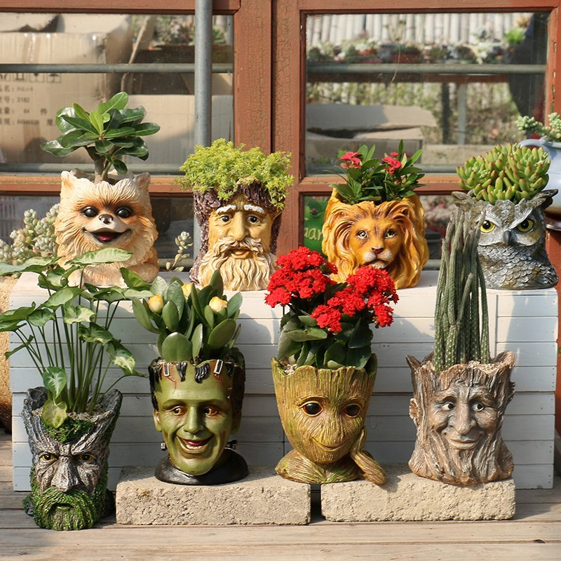 Human head green flower pots more meat tree people flower pots Galaxy guards creative Grout home decoration WF6061000 vaso cabeça