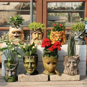 Flower-Pots Grout Human-Head Galaxy-Guards Home-Decoration Creative More-Meat Green WF6061000