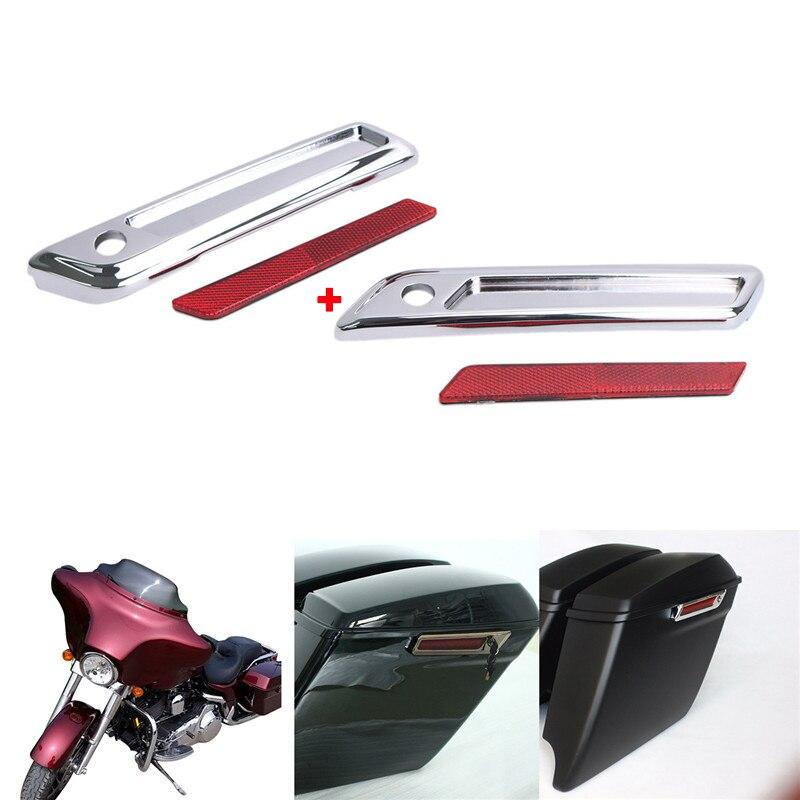 Couvertures dures de loquet de sac de selle de Chrome en aluminium d'abs avec les réflecteurs rouges pour Harley Touring Road King couvercles durs Ultra de sacs de moto