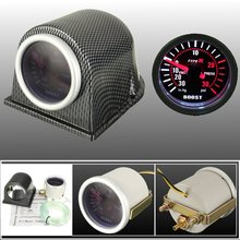 2 Inches 52mm Universal PSI Smoke Face Carbon Fiber Pod Meter Turbo Boost Gauge