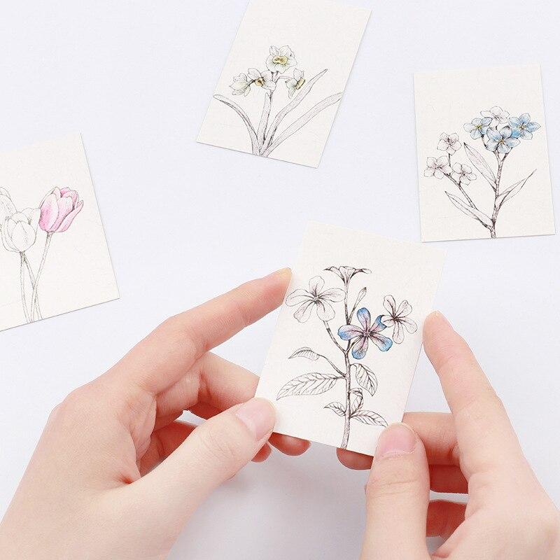 multi-use 5.2*8cm 54pcs Mini Card hand paint flower theme Scrapbooking party invitation cards valentine Christmas Scrapbooking