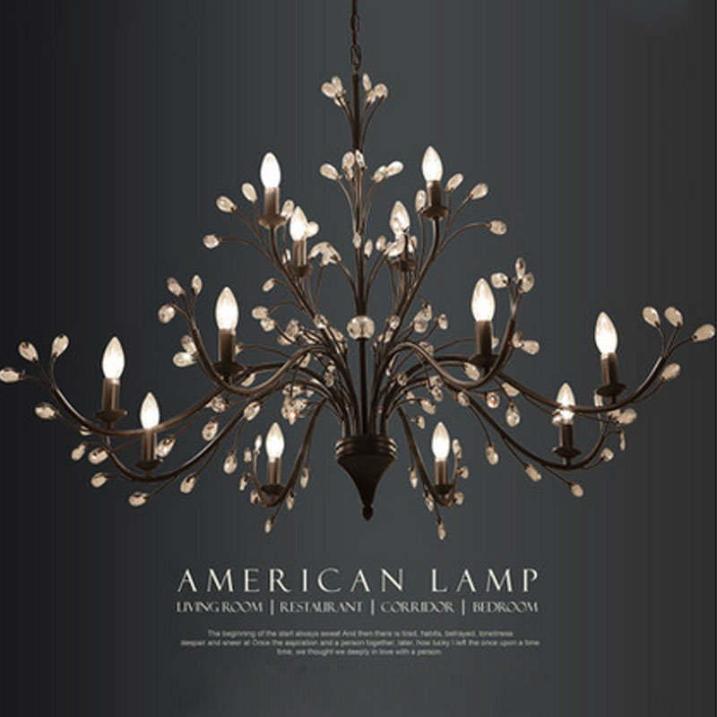 ZX American Country Restaurant Crystal Pendant Lamp Nordic Luxury Living Room Hall Chandelier Creative LED E14 Indoor Lamp american living room retro art chandelier nordic country antler chandelier clothing store villa candle lamp