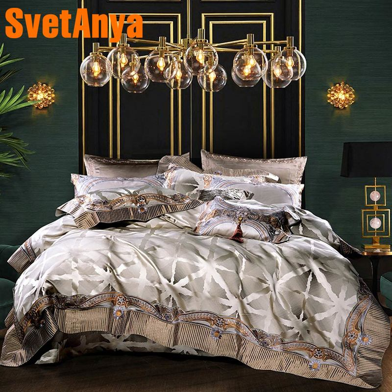 Svetanya luxury Brocade Bedding Set king queen double size Bed Linens-in Bedding Sets from Home & Garden