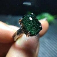 Натуральный зеленый фантомный кварц кристалл регулируемое кольцо 12x. 8,8 мм прозрачная бусина юбилей AAAAA Lucky Stone 925 Серебряное кольцо ювелирны