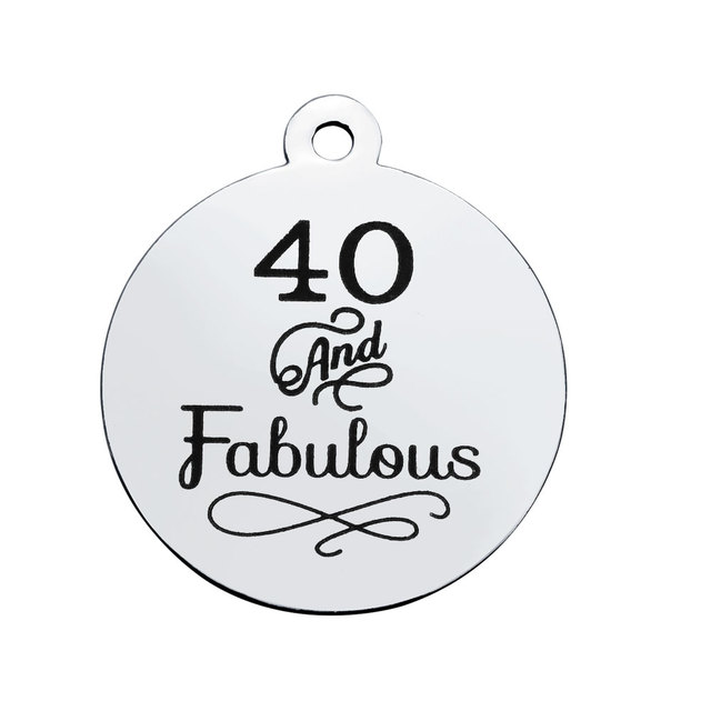 d16c00f6a BULK 30pcs Stainless Steel 40 And Fabulous Engraved Charms Fourty Pendant  40th Birthday Jewelry Making 20mm. Anniversary ...