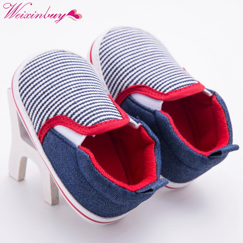 Toddler Baby Dark Blue Striped Pattern Baby Boys Girls Crib Shoes First Walkers Soft Bottom Baby Shoes 0-12 Months