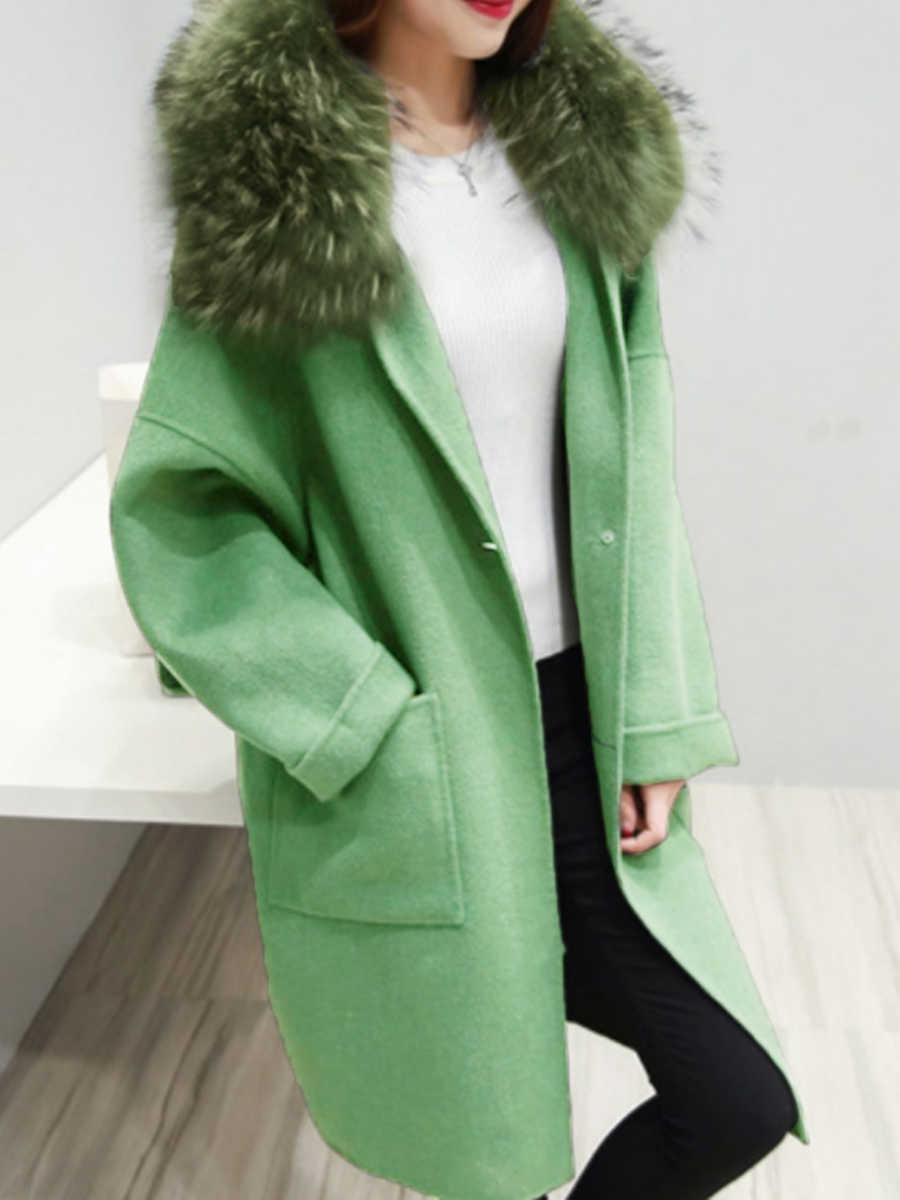 Клетчатое Женское зимнее пальто из искусственного меха, теплая верхняя одежда, повседневное пальто средней длины, зеленое, на одной пуговице, свободное, плюс размер, 2XL, шерстяное длинное пальто для женщин