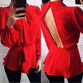 Women Clothes Long Sleeve Shirt  Pullover Jumper Shirt Top Blouse Clothing OL office lady clothes wear