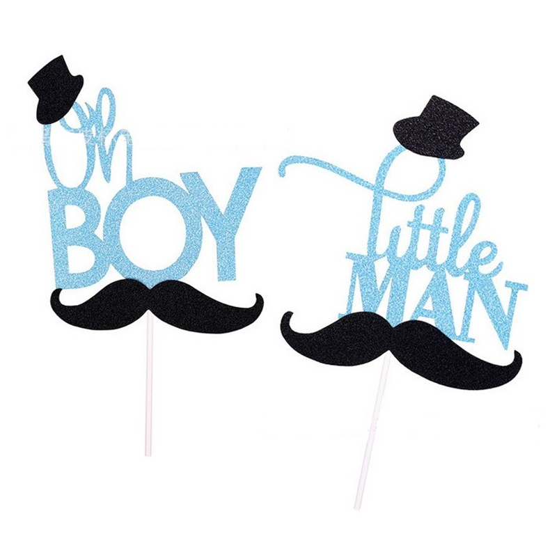 cartoon glitter mustache oh boy /little man cake topper birthday cake decoration baby shower kids party birthday favor supplies