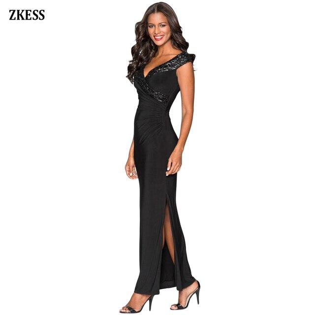 7c25f1bd28d Zkess Women Sexy Sequin Wrap V Neckline Long Maxi Dress Sleeveless  Patchwork Front Slim Slit Party Club Formal Dress LC610264