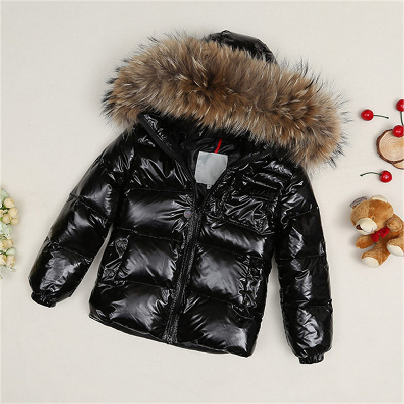Children Winter White Duck Down Jacket Boys Girls Natural Fur Collar Coats Kids Warm Outerwear Clj059 2013 winter brand fashion luxury natural white fox fur collar hood denim jacket duck down jacket women outerwear s m l xl d2124
