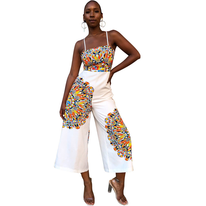 Traditional African Print Jumpsuit Women Sleeveless Bow Tie Up Back Ethnic  Dashiki Sexy Romper Ladies Wide f3b4184b5187