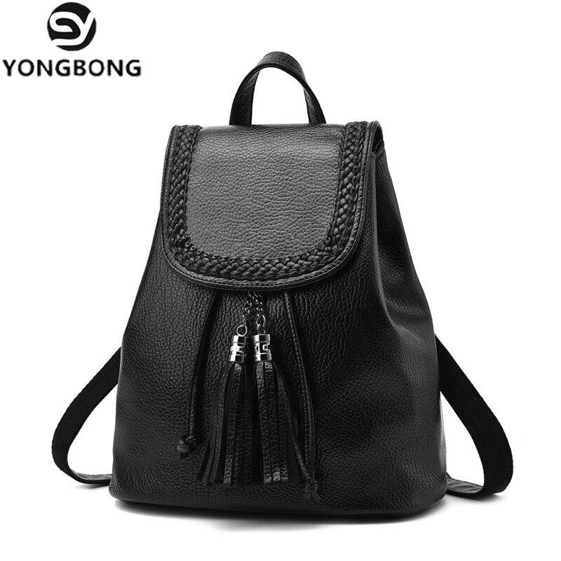 YONGBONG New Fashion Women Backpack Feminine Tassel Ladies Leather Backpack For Teenage Girls School Backpacks Female